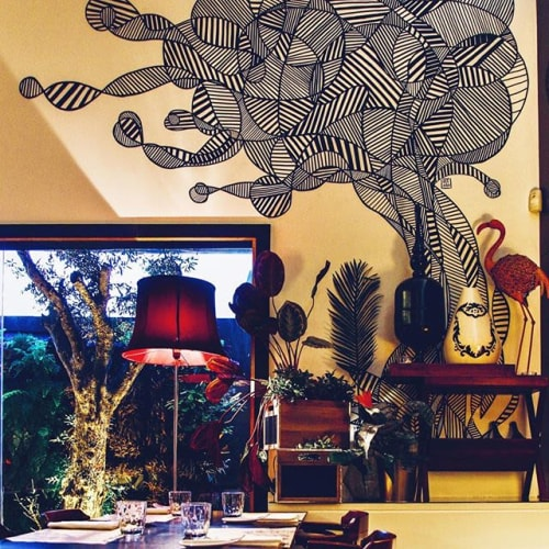 Murals by Ozearv seen at Private Residence, Lisbon - That place were we eat .