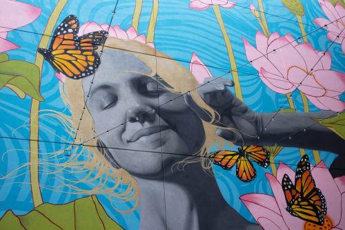 Murals by Osiris Rain Studios seen at Novel Stonewall Station Apartments, Charlotte - Novel Stonewall Station Mural