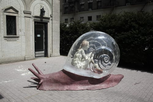 Public Sculptures by Kathy Ruttenberg seen at West 96th Street, New York - Snail's Pace
