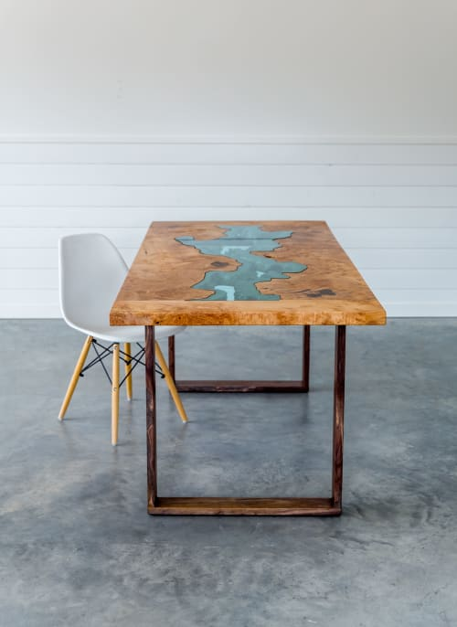 Tables by SAW Live Edge seen at SAW Live Edge Studio, Kimberley - Big Leaf Maple Dining Table | River Series | Breadboard Ends | Walnut Base