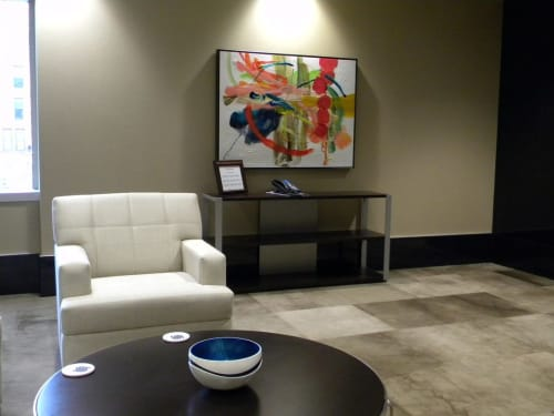 Paintings by Mary Zeran seen at United Fire Group, Cedar Rapids - United Fire Group Lobby