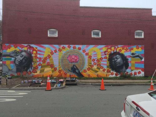 Street Murals by Osiris Rain Studios seen at East 35th Street, Charlotte - NoDa Mural