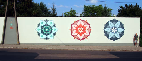 Street Murals by Mike Ortalion seen at Nowogard, Nowogard - III - mural of 3 mandalas painted for City of Nowogard, Poland 2018
