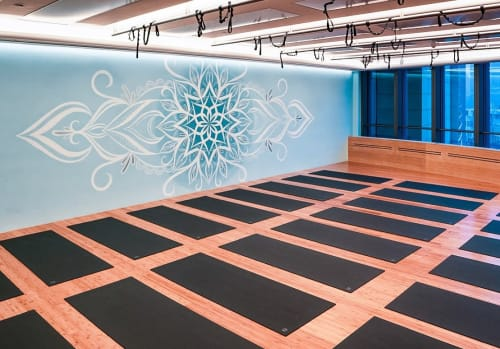 Murals by Urbanheart seen at Century Avenue, Pudong Xinqu - Blue Mandala Yoga Studio Mural