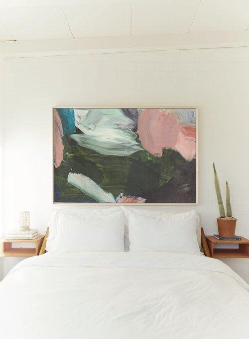 Paintings by maja dlugolecki seen at Creator's Studio, Los Angeles - last rose of summer - linen print