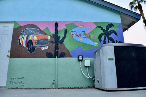 """Murals by Tysen Knight seen at Private Residence, Palm Springs - Mini Cooper & Urban Desert Palms - """"Palm Spring"""" Wall Mural"""
