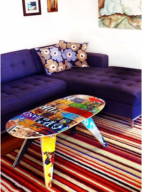 "Benches & Ottomans by Skate or Design seen at Private Residence, Philadelphia - 48"" TWO SEATER - RECYCLED SKATEBOARD BENCH"