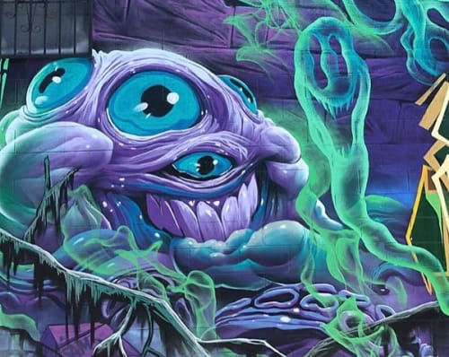 "Street Murals by Greg ""Craola"" Simkins seen at Los Angeles, Los Angeles - Street Mural"