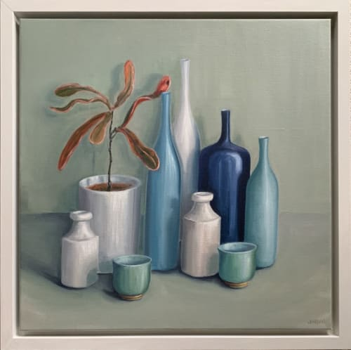 Paintings by Jonquilsart - bottles, pots and bowls with plant