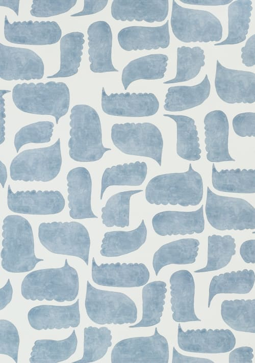 Wallpaper by Metolius seen at Private Residence, San Francisco - Metolius Chatty Azurite Blue Wallpaper