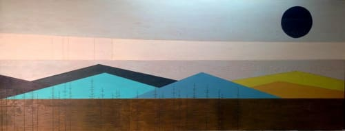 """Paintings by Jennifer Urquhart seen at Lovejoy Medical Building, Portland - """"Retro Mountainscape"""" and """"Red Mountain"""""""