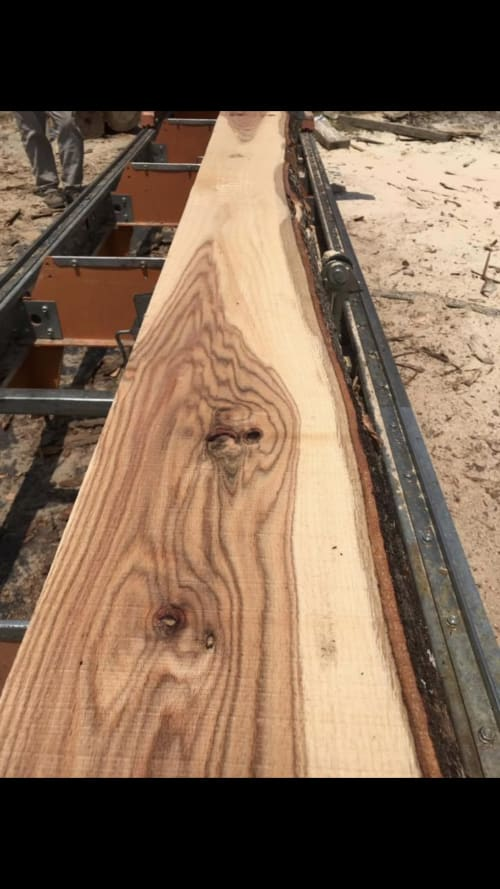Furniture by Carolina Bowl and Beam seen at Private Residence, Saluda - Live Edge White Oak Mantle