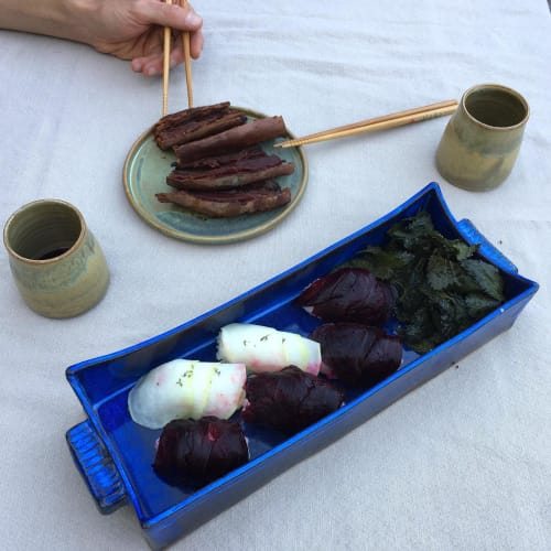 Ceramic Plates by Keyes Pottery seen at Private Residence, Marshall - Serving Tray in Laurel