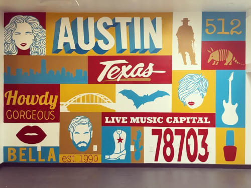 Murals by Avery Orendorf at Bella Salon, Austin - Howdy Gorgeous