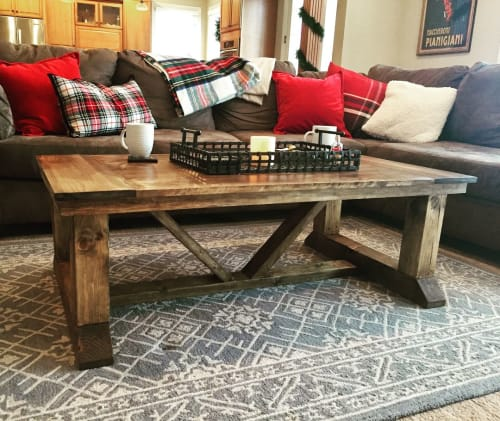 Tables by Wisconsin Farmhouse seen at Private Residence, Madison - Coffee Table with Breadboard Top