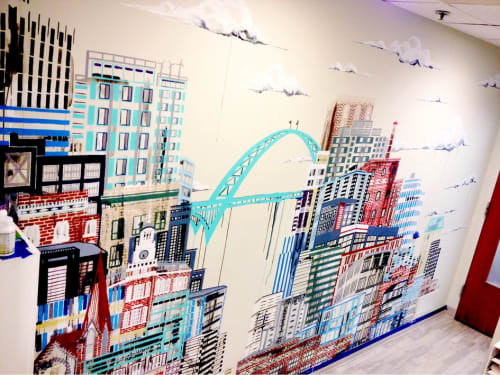 Murals by Ursula Barton at Vitalize- An Acupuncture + Wellness Clinic- Portland, Portland - Fremont Bridge Mural
