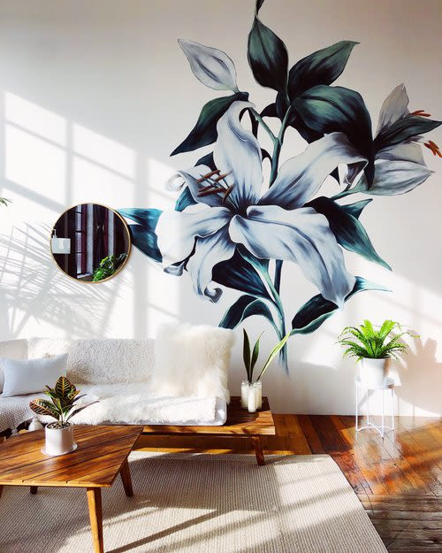 Murals by Charly Malpass Art seen at Private Residence, Oakland - White Lilly