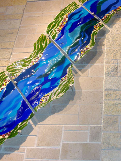 Public Sculptures by Bonnie Rubinstein Studio at University of Wisconsin - Student Center, River Falls - River Fusion