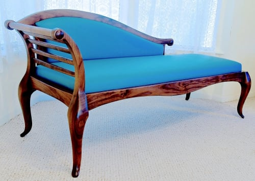 Couches & Sofas by Louis Fry Furniture Maker seen at Private Residence, Baltimore - Hand Sculpted Settee In Walnut With Leather Upholstery