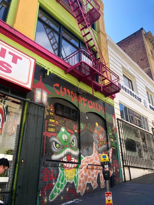 Street Murals by Francisco Aquino seen at China Bazaar, San Francisco - Dragons Mural