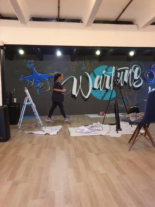 Murals by Estúdio Pepper seen at Wartung Films, Água Verde - Wartung Films Studio
