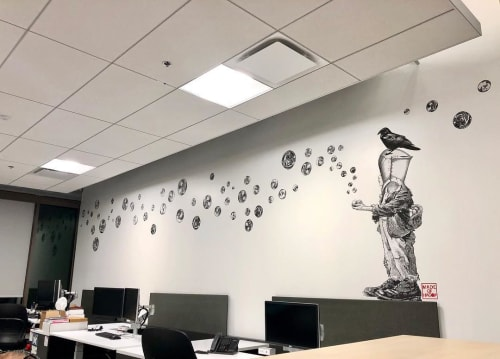Murals by Made of Hagop seen at LPA Design Studios in Orange County, Irvine - Innocent