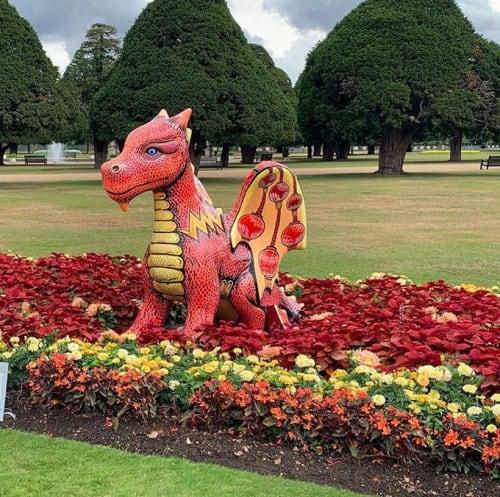 Sculptures by Jenny Leonard seen at Hampton Court Palace, Molesey - Dragon at Hampton Court