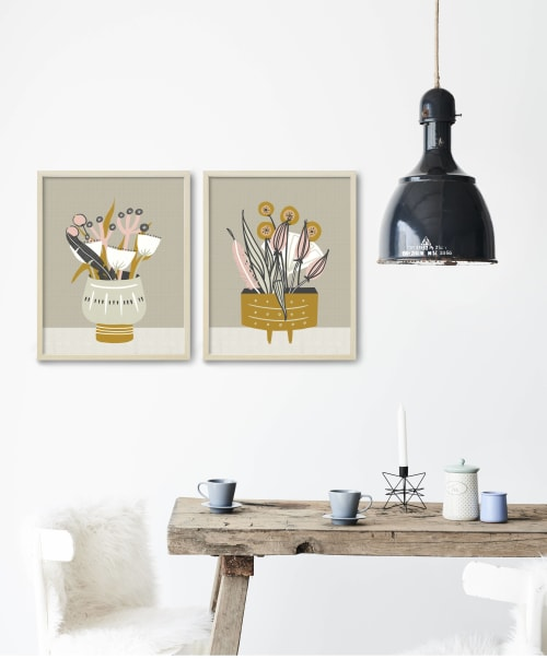 Paintings by Birdsong Prints seen at Private Residence - Wake Forest, NC, Wake Forest - Mid Century Botanicals