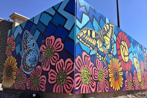 Street Murals by Christine Rose Curry seen at 5400-5820 S Parker Rd, Aurora - Colorado Butterfly Mural at Pioneer Hills Shopping Center