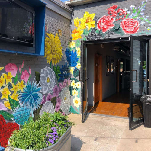 Murals by Nora Kate Paints seen at Easy Street Pizza & Beer Garden, Chicago - Floral Mural
