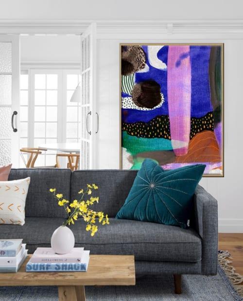 "Paintings by ian gunn seen at Peregian Springs, Peregian Springs - ""Formation"" painting in an interior"