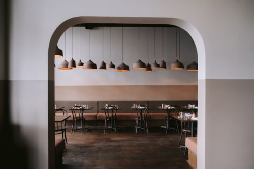 Pendants by James Russ seen at Andiamo Eatery, Auckland - Clay