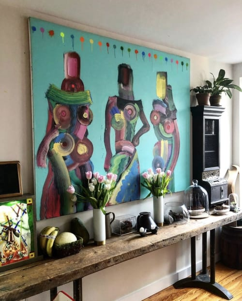 Paintings by Andres García-Peña Art seen at Private Residence, New York - Portrait of Cait and the girls