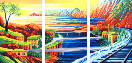 Building Bridges (Italy, Austria + Poland) by Amy Shackleton seen at  Compass Wealth Partners, Oshawa | Wescover To give examples of the artists work