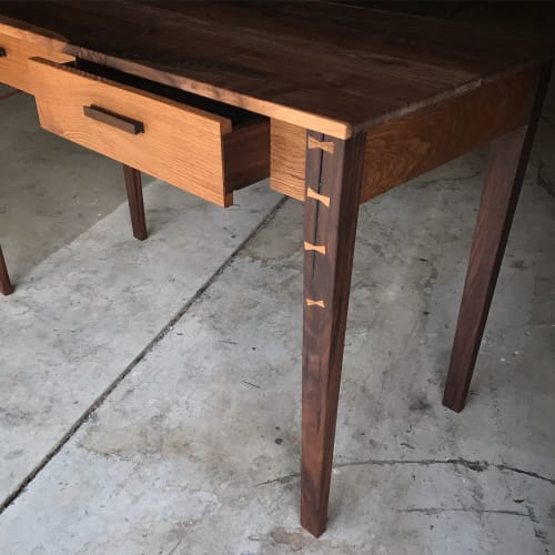 Tables by Cherokee Furniture Company seen at Alpharetta Outfitters, Alpharetta - Shaker fly tying desk