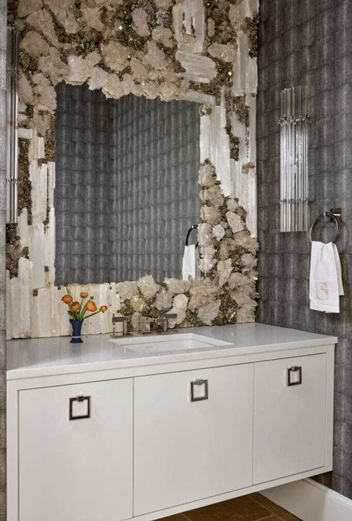Wall Hangings by Connie Chantilis seen at Private Residence, Dallas - Pyrite and selenite powder room