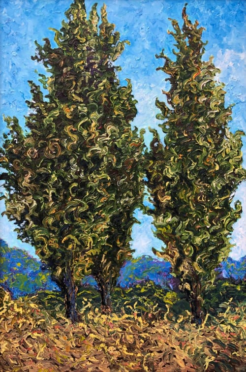 Paintings by Rob Crombie seen at Cuyahoga Falls, Cuyahoga Falls - Three Cypress Trees