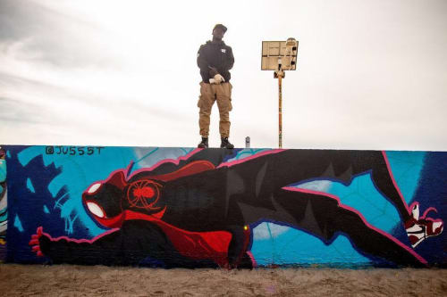 Street Murals by JUSTin Spire seen at Venice Public Art Walls, Los Angeles - Spider-Man Mural