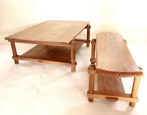 Tables by peaslee design seen at Private Residence, Poughkeepsie - pier table