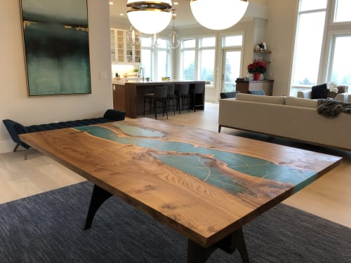 Tables by Black Rose WoodCraft seen at Private Residence, Portland - Kintsugi-Resin Dining Table