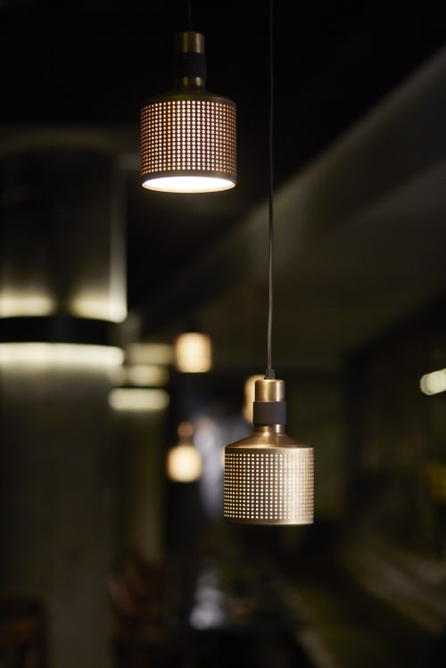 Pendants by Bert Frank seen at MESH Club, Johannesburg - Riddle Pendant - Brass & Black