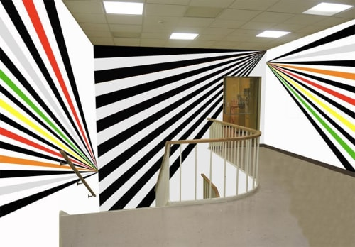 Murals by Rico Gatson seen at Mead Art Museum, Amherst - Hall Walls