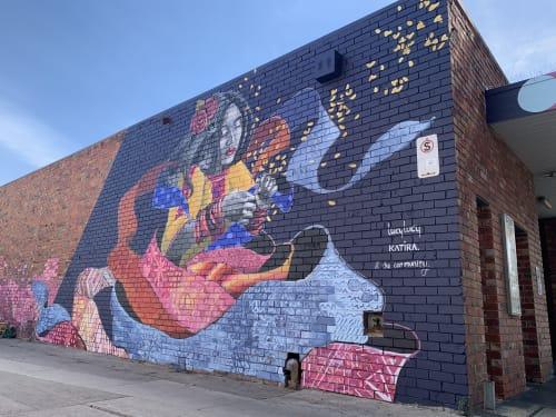 Murals by Katherine Gailer - AKA Katira seen at Coburg Library, Coburg - Mural - Panting Community & Singing Diversity