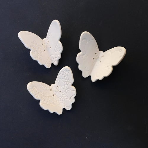 Art & Wall Decor by Elizabeth Prince Ceramics seen at Creator's Studio, Manchester - 3 Porcelain Ceramic And Sterling Silver Butterflies