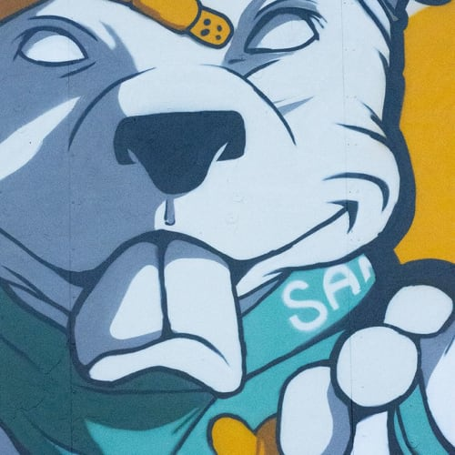 Street Murals by Rachel Nurmi seen at Montrose Brown Line Station, Chicago - Roof Dog Tribute