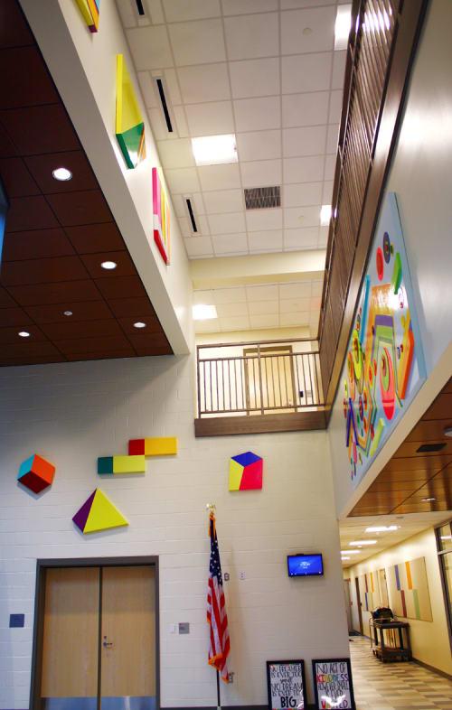 Murals by Soonae Tark seen at Barack H. Obama Magnet University School, New Haven - Happy World 3