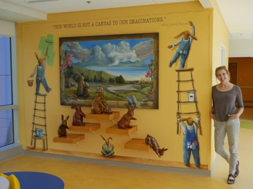 "Public Sculptures by Rachael McCampbell seen at East Tennessee Children's Hospital, Knoxville - ""Bunny World"" Installation of wall mural, painting, and 5 resin sculptures, 9' h x 12' w"