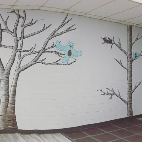 Murals by Blake Wydeman seen at Kensington Park Complex and Rink, Burnaby - Owl Mural