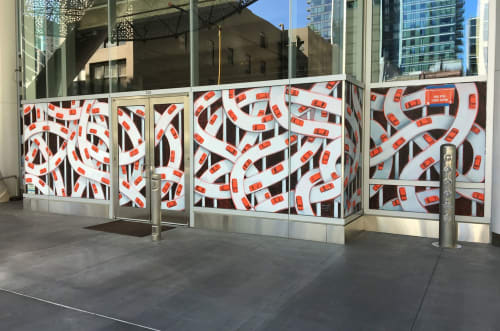 Murals by Michael Kerbow seen at Salesforce Transit Center, San Francisco - Salesforce Transit Center Mural