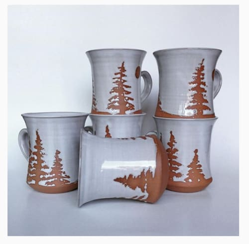Cups by Dresser Clay and Design seen at Private Residence, Haliburton - Large Muskoka/Landscape mugs